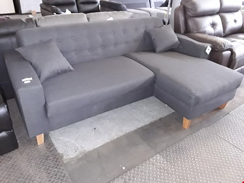 Lot 30 DESIGNER CHARCOAL BUTTONED BACK FABRIC CHAISE SOFA