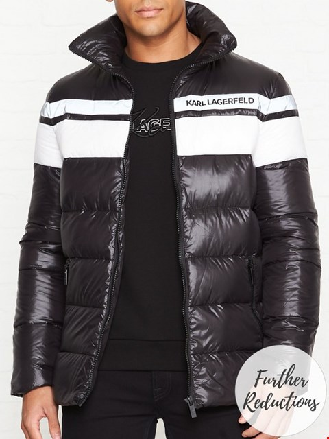 Lot 7037 KARL LAGERFELD QUILTED COLOUR BLOCK BLACK JACKET - SIZE 48 EU