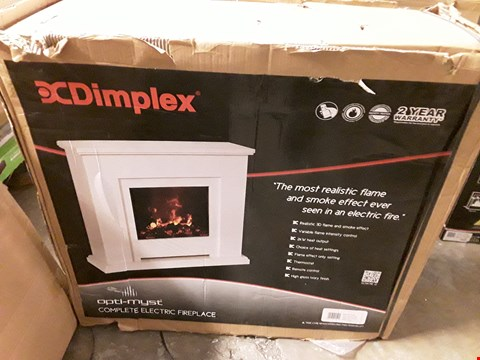 Lot 59 DIMPLEX OPTI-MYST 2KW COMPLETE ELECTRIC FIREPLACE WHITE RRP £600