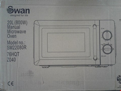 Lot 2310 SWAN MANUAL MICROWAVE OVEN SM22080R RED RRP £89.99