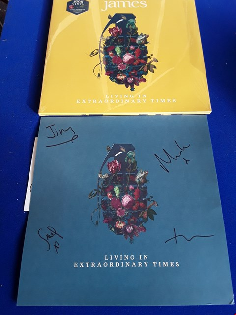 Lot 7685 JAMES LIVING IN EXTRAORDINARY TIMES 180G VINYL RECORD WITH SIGNED SHEET
