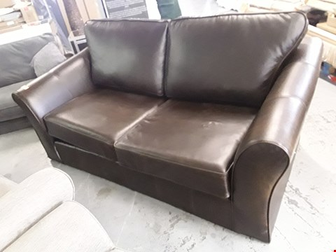 Lot 154 QUALITY BRITISH DESIGNER ABBEY BROWN LEATHER TWO SEATER SOFA