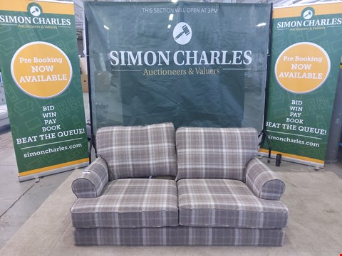 Lot 34 QUALITY DESIGNER BROWN CHECK PATTERNED TWO SEATER SOFA