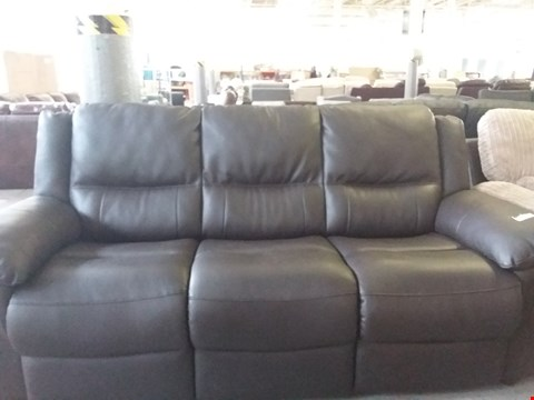 Lot 28 DESIGNER BROWN FAUX LEATHER 3 SEATER SOFA