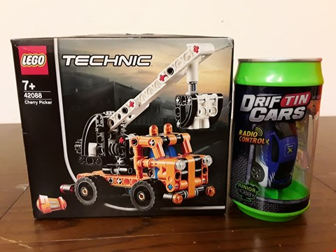 Lot 9018 LOT OF 2 KIDS TOYS INCLUDE LEGO TECHNIC 42088 CHERRY PICKER AND R/C DRIFT TIN CAR