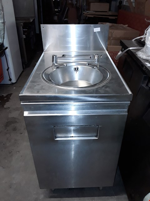 Lot 8099 STAINLESS STEEL COMMERCIAL 1 DOOR SINK UNIT WITH TAPS