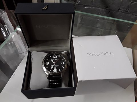 Lot 8225 NAUTICA STYLE MENS WATCH WITH BLACK FACE, SILVER LOOK BODY AND LEATHER STRAP
