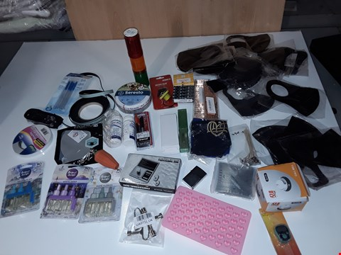 Lot 226 LOT OF ASSORTED SMALL HOMEWARE ITEMS TO INCLUDE FACE MASKS DOUBLE SIDED TAPE, LIGHTER, MINI DIGITAL SCALES, MULTI TOOL