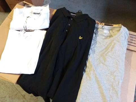 Lot 342 BOX OF APPROXIMATELY 32 ASSORTED MENS TOPS TO INCLUDE POLOS, SHIRTS AND MORE