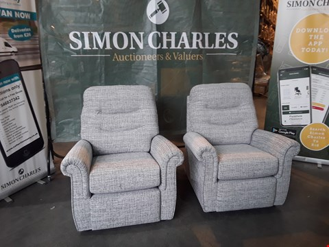 Lot 9036 QUALITY BRITISH MADE HARDWOOD FRAMED PAIR OF GREY FABRIC ARMCHAIRS