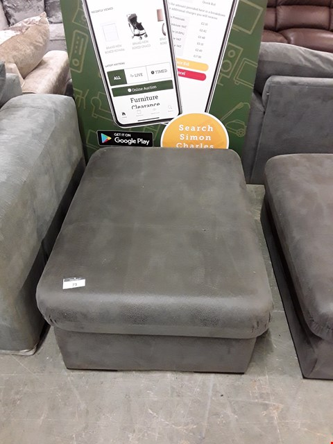 Lot 73 DESIGNER GREY FAUX LEATHER FOOTSTOOL APPROXIMATELY 100X70CM