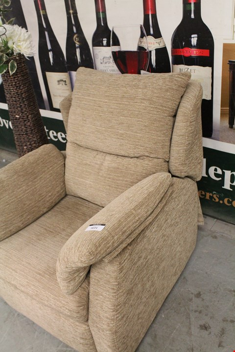 Lot 2 QUALITY BRITISH MADE, HARDWOOD FRAMED BROWN FABRIC RISE AND RECLINE ARMCHAIR