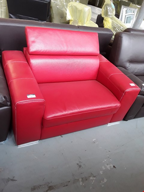Lot 59 BRAND NEW QUALITY ITALIAN DESIGNER RED LEATHER SNUGGLE CHAIR WITH METAL ACTION SOFA BED AND ADJUSTABLE HEADRESTS