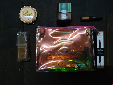 Lot 79 6 ASSORTED BRAND NEW COSMETICS TO INCLUDE; NYX MICRO CONTOUR DUO PENCIL, L'OREAL EYE PAINT, LOREAL TRUE MATCH MINERALS, BENEFIT GOLD RUSH MIRROR, BENEFIT EVELOPE BAG AND MAX FACTOR HEALTHY SKIN HARMON