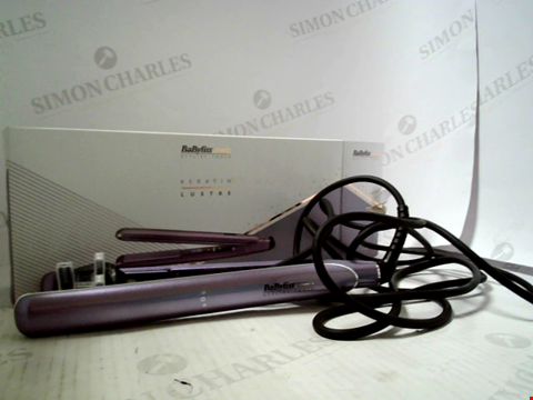 Lot 5596 BABYLISS PRO KERATIN LUSTRE LILAC SILK STRAIGHTENING TONGUE