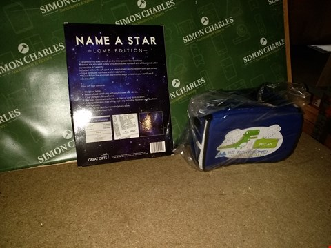 Lot 8407 LOT OF 5 ITEMS TO INCLUDE LOVERS NAME A STAR, PERSONALISED DINOSAUR LUNCH BAG AND DRINKS BOTTLE SET AND PERSONALISED WOODEN TELL THE TIME CLOCK  RRP £110.00