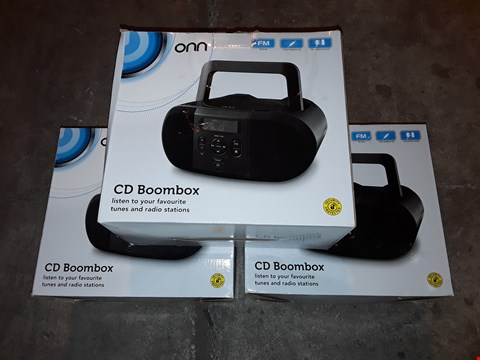 Lot 4568 LOT OF 3 ONN CD BOOMBOXES