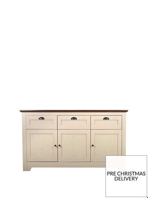 Lot 3514 BOXED DEVON LARGE SIDEBOARD - IVORY/WALNUT (2 BOXES)