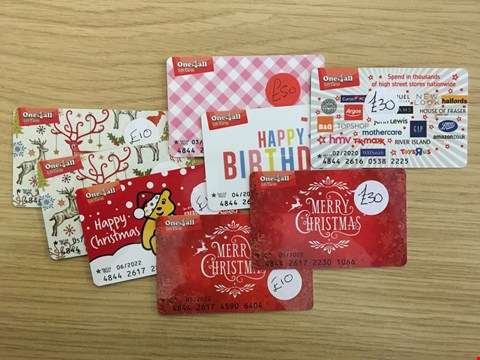 Lot 13 9 ONE4ALL GIFT CARDS.  TOTAL VALUE £175
