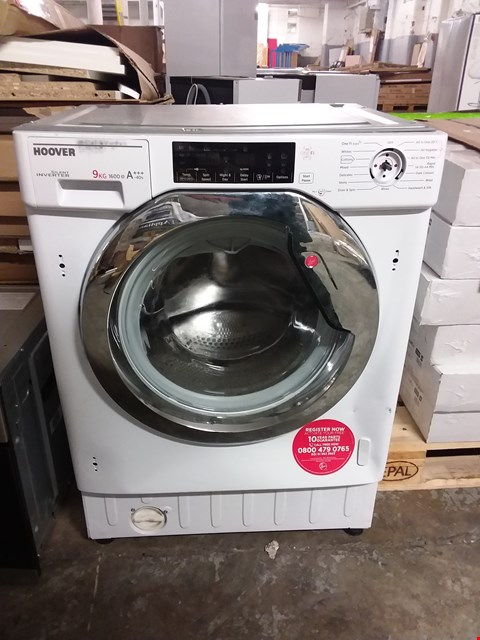 Lot 3114 HOOVET BUILT IN 9KG 1600 SPIN WASHING MACHINE IN WHITE - HBWMO 96TAHC-80