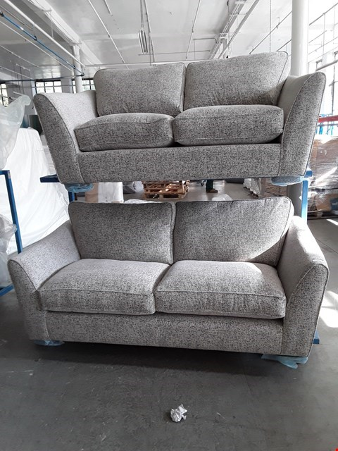 Lot 10038 BRAND NEW DESIGNER PLAIN MARBLE FABRIC 3 & 2 SEATER SOFAS RRP £1298