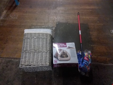 Lot 8066 A CAGE OF HOUSEHOLD ITEMS TO INCLUDE, CAT MAT AND BED, MOP, A WICKER BASKET