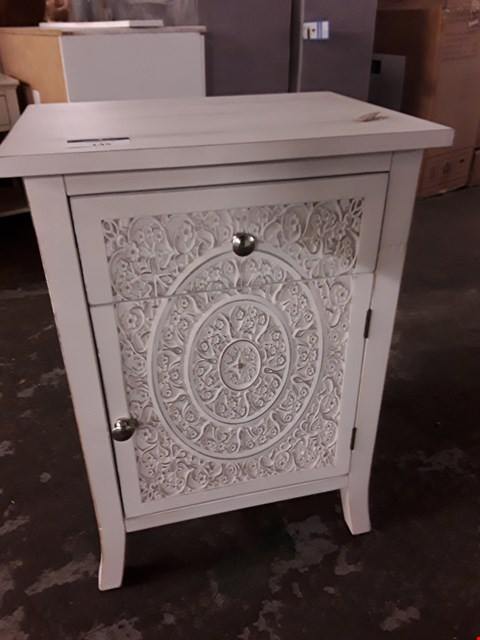 Lot 145 DECORATIVE WHITE 1 DRAWER 1 DOOR BEDSIDE CABINET