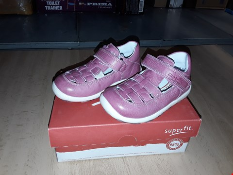 Lot 12357 BOXED SUPERFIT LAURIE NAPPA LEATHER PINK VELCRO SHOES UK SIZE 4.5 JUNIOR