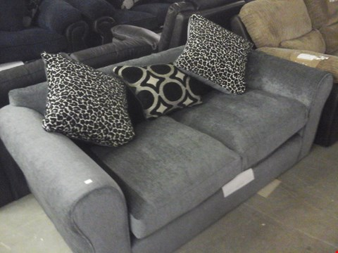 Lot 77 DESIGNER GREY FABRIC 2 SEATER SOFA WITH CUSHIONS