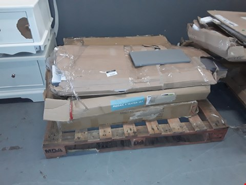 Lot 11163 PALLET OF 3 ASSORTED ITEMS TO INCLUDE MOSAIC 4 SEATER SET PARTS AND WOODEN UNIT