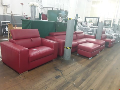 Lot 157 BRAND NEW QUALITY DESIGNER ITALIAN RED LEATHER SUITE, COMPRISING THREE-SEATER METAL-ACTION CHAISE STORAGE SOFABED, SNUGGLE CHAIR WITH METAL-ACTION SOFABED, STORAGE FOOTSTOOL AND SOFA SECTION