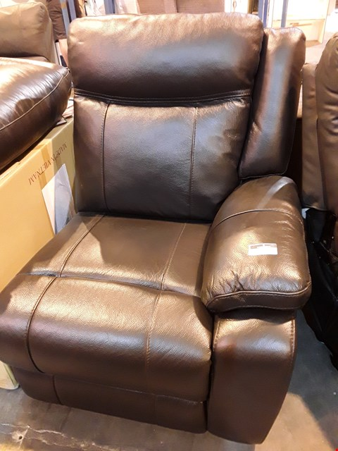 Lot 523 DESIGNER BLACK LEATHER POWER RECLINING END SECTION