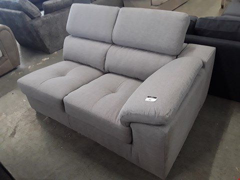 Lot 84 DESIGNER GREY FABRIC SOFA SECTION WITH ADJUSTABLE HEADRESTS
