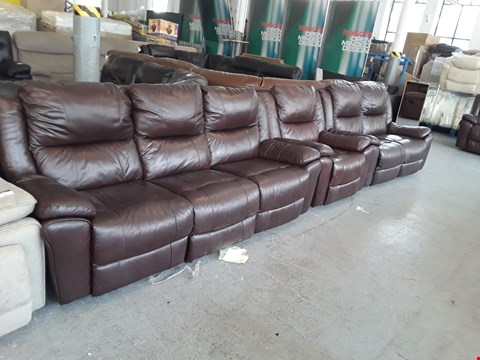 Lot 55 DESIGNER BROWN LEATHER DERBY 2 AND 3 SEATER MANUAL RECLINING SOFAS AND MANUAL RECLINING ARMCHAIR  RRP £3300.00