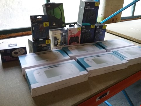 Lot 9023 A BOX OF APPROXIMATELY 24 ASSORTED BRAND NEW ITEMS TO INCLUDE A WIRED CONTROLLER FOR NINTENDO SWITCH, A WII U SILICONE CASE AND A WIRED CHAT HEADSET FOR XBOX 360