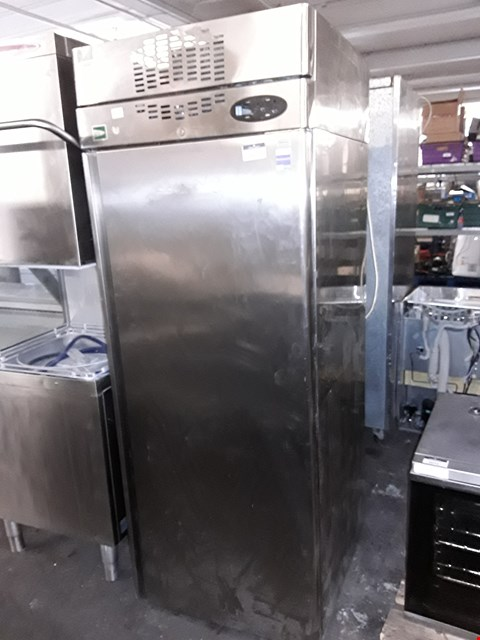 Lot 9074 LARGE UPRIGHT STAINLESS STEEL COMMERCIAL FRIDGE