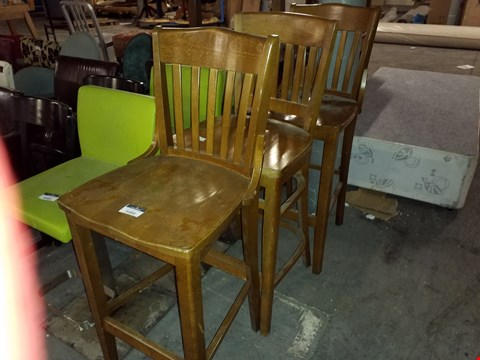 Lot 17533 LOT OF 3 TALL WOODEN STOOLS