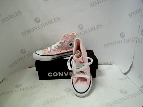 Lot 9 BOXED PAIR OF PINK DESIGNER CONVERSE ALLSTARS - UK KIDS SIZE 10