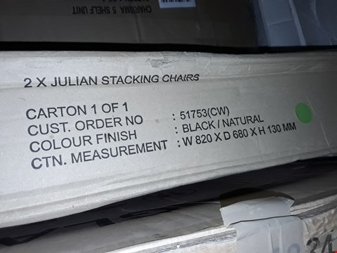 Lot 12150 BOXED PAIR OF JULIAN STACKING CHAIRS - BLACK/NATURAL