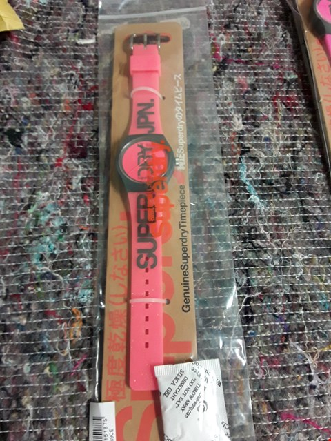 Lot 62 BRAND NEW SUPERDRY CORAL PINK ACRYLIC STRAP WRISTWATCH