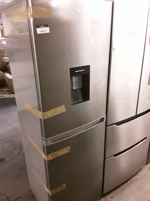 Lot 10017 SWAN 55CM FRIDGE FREEZER- SILVER - WITH WATER DISPENCER  SR15635S