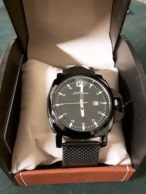 Lot 397 BOXED L A BANUS BLACK METAL STRAP MEN'S WRIST WATCH