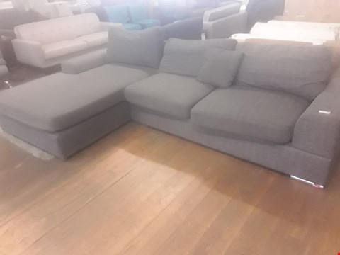 Lot 21 DESIGNER GREY FABRIC LARGE CHAISE SOFA ON CHROME FEET RRP £499.99