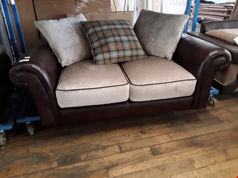 Lot 51 DESIGNER FALKIRK BROWN FAUX LEATHER & SILVER FABRIC SCROLL ARM TWO SEATER SOFA WITH SCATTER CUSHIONS
