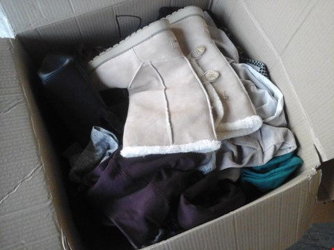 Lot 2224 BOX OF ASSORTED ITEMS TO INCLUDE CLOTHING AND BOOTS APPROXIMATELY 40 ITEMS