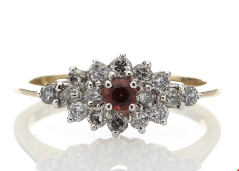 Lot 8 9ct BOAT SHAPE CLUSTER CLAW SET DIAMOND GARNET RING 0.49ct  RRP £1919