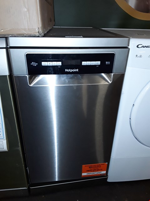 Lot 12015 HOTPOINT HSFO3T223WX 10 PLACE SLIMLINE FREESTANDING DISHWASHER WITH QUICK WASH - STAINLESS STEEL