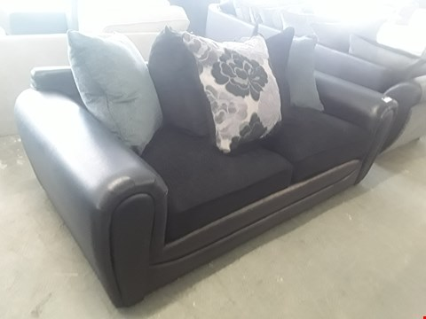 Lot 25 DESIGNER BLACK FAUX LEATHER AND BLACK FABRIC 2 SEATER SOFA WITH SCATTER BACK CUSHIONS