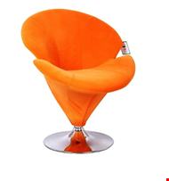 Lot 57 NICIA ORANGE VELVET CHAIR WITH REVOLVING CHROME BASE  RRP £179