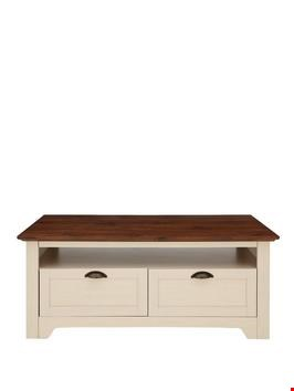 Lot 7016 BOXED GRADE 1 DEVON STORAGE COFFEE TABLE IVORY/WALNUT-EFFECT (1 BOX)